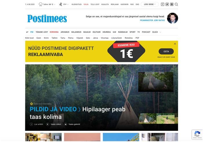 Postimees newspaper website